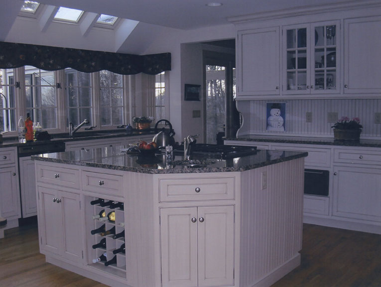 White Country Kitchen With Island Currier Kitchens Nashua NH